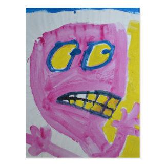 Carte Postale Toby - portrait rose - idiot