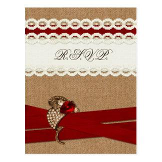 Carte Postale Toile de jute rustique rouge et mariage campagnard