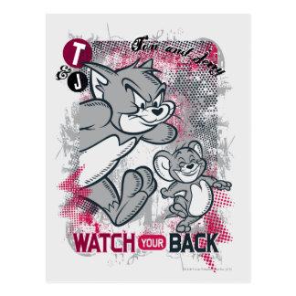 Carte Postale Tom et Jerry observent votre dos