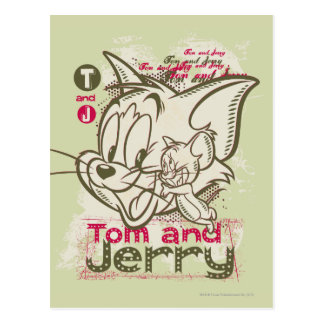 Carte Postale Tom et rose et vert de Jerry