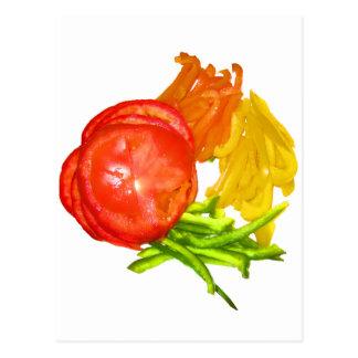 Carte Postale Tomate empilée avec les poivrons coupés en