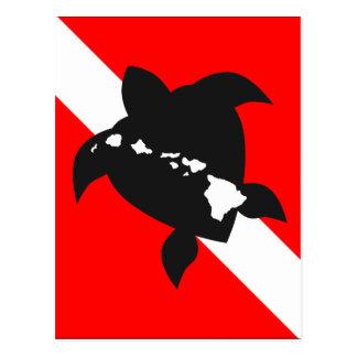 Carte Postale Tortue de drapeau de piqué