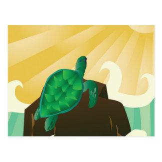 Carte Postale Tortue d'Hawaï au soleil