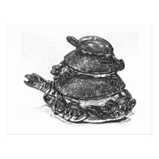 Carte Postale Tortue triple de Feng Shui - B&W