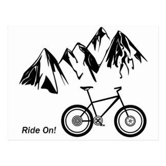 Carte Postale Tour dessus ! Silhouette de vélo de montagne avec