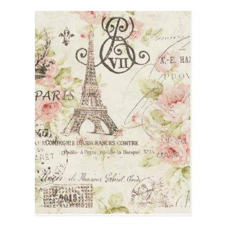Carte Postale Tour Eiffel floral romantique chic girly de Paris