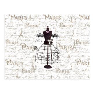 Carte Postale Tour Eiffel français de Paris de typo de mannequin