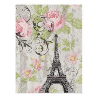 Carte Postale Tour Eiffel français floral chic minable de pays