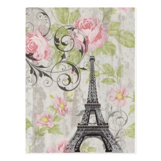 Carte Postale Tour Eiffel français floral rose chic girly de