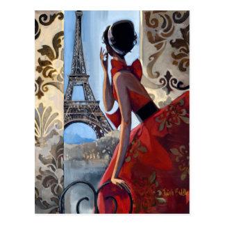 Carte Postale Tour Eiffel, robe rouge, nous a laissés vont