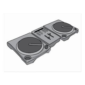 Carte Postale Tourne-disque DJ de phonographe de plaque