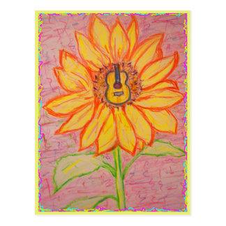 Carte Postale Tournesol acoustique flower power