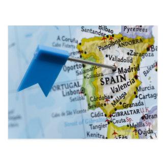 Carte Postale Tracez la goupille placée à Madrid, Espagne sur la