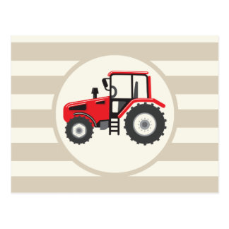 Carte Postale Tracteur rouge de ferme sur les rayures bronzages