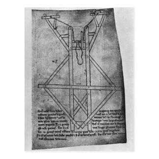 Carte Postale Trebuchet, machine pour jeter des flèches