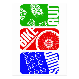 Carte Postale TRI blocs de couleur de triathlon