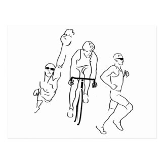Carte Postale Triathlon de course de vélo de bain