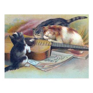 Carte Postale Trois chatons et une illustration de cru de