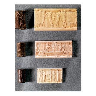 Carte Postale Trois joints de cylindre avec des impressions,
