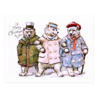Carte Postale Trois ours blancs de charme