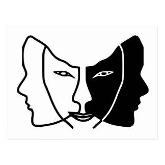 Carte Postale trois visages noircissent les Gémeaux blancs