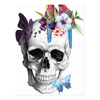 Carte Postale Tropical de paradis de la mort de crâne de