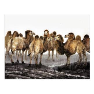 Carte Postale Troupeau de chameaux, art chinois classique