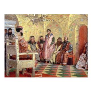 Carte Postale Tsar Mikhail Fyodorovich avec Boyars
