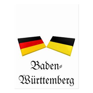Carte Postale Tuiles de drapeau du Bade-Wurtemberg, Allemagne
