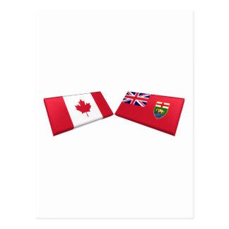 Carte Postale Tuiles de drapeau du Canada et du Manitoba