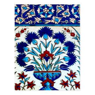 Carte Postale Tuiles turques abstraites florales antiques