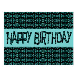 Carte Postale Turquoise Brithday heureux de joyeux anniversaire