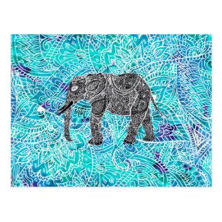 Carte Postale Turquoise de bleu d'éléphant de boho de Paisley de