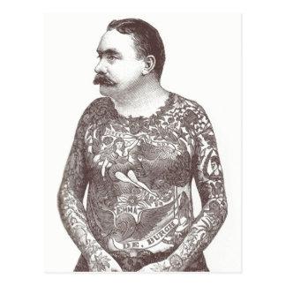 Carte Postale Type victorien tatoué avec la moustache