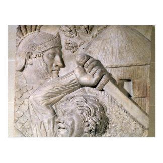 Carte Postale Un barbare combattant un légionnaire romain