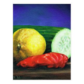 Carte Postale Un citron et un concombre