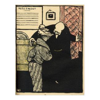Carte Postale Un digne homme conduit une jeune femme dans le