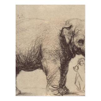 Carte Postale Un éléphant par Rembrandt