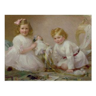 Carte Postale Un frère et une soeur jouant, 1915
