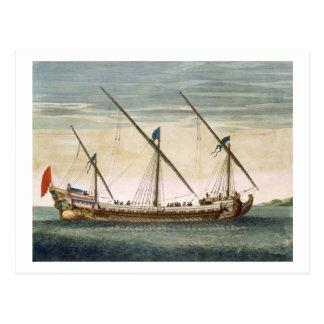 Carte Postale Un Galleass trois-mâté en cours par l'aviron, du