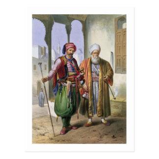 Carte Postale Un Janissary et un négociant au Caire,