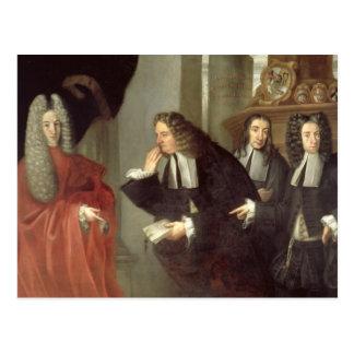 Carte Postale Un juge et trois avocats, école vénitienne (huile
