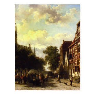 Carte Postale Un marché occupé dans Veere avec le Clocktower du