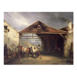Carte Postale Un maréchal-ferrant chaussant un cheval