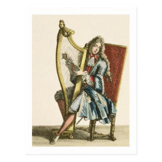 Carte Postale Un monsieur jouant l'harpe (gravure)
