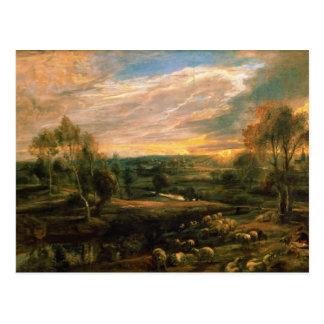 Carte Postale Un paysage avec un berger et son troupeau