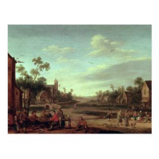 Carte Postale Un paysage boisé de rivière, 1646