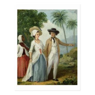 Carte Postale Un planteur et son épouse, servis par un employé,