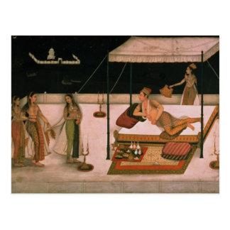 Carte Postale Un prince de Mughal recevant une dame la nuit
