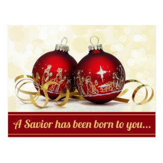 Carte Postale Un sauveur a été ornement né de Noël de nativité